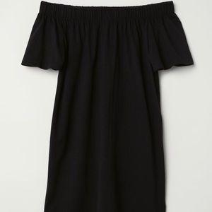 Black Off Shoulder Cotton Dress